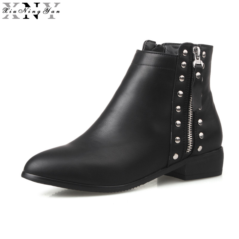 XiuNingYan High Quality Ankle Boot Suede Soft Leather Women Boots Zipper Short Plush Autumn Winter Boots Plus Size Womens Shoes<br>