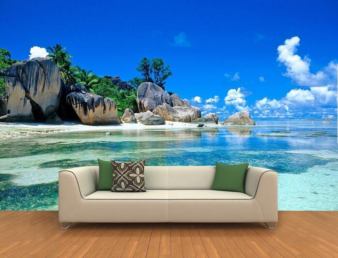 3d Room Wallpaper Custom Mural Non Woven Wall Sticker 3 D Island Landscape  Rock Beach Part 8