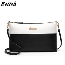 Bolish Soft Leather Women Clutches Bags Single Shoulder Bag Gold Brand Logo Evening Party Handbags(China)