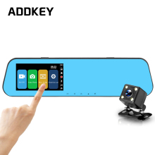 ADDKEY 4.3 inch Touch screen car dvr camera Review Mirror night vision Full HD 1080P dual lens dash cam Video Recorder car dvrs(China)