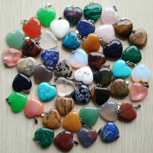 Wholesale 50pcs/lot 2017 Assorted heart  natural stone charms pendants for jewelry making Good Quality 20mm free shipping