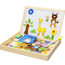 MWZ 30* 23*3.2CM 0.9KG Wooden Cartoon Animal Magnetic Puzzle Kids Double Faced Drawing Board Educational Toys Gift For Children
