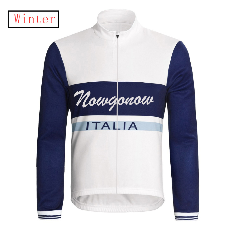 Nowgonow 2017 Classical Winter Fleece cycling jersey long sleeve pro team bike wear clothing riding racing ropa ciclismo white(China (Mainland))