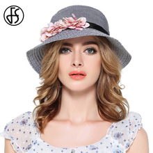Queen 2017 Female Summer Sun Hat For Women Wide Brim Pink Blue Flowers Floppy Straw Hats With Black Ribbon Women Beach Cap