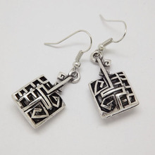 EQ204 Ethnic Tibetan Silver Color Hollow Antique Rectangle Geometric Vintage Earrings For Women Girls New Jewelry Bijouterie