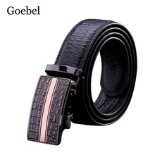 Goebel Alloy Automatic Buckle Belts Men Crocodile Pattern PU Leather Man Brand Belts Fashion Classic Man's Black Belts(China)