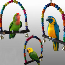 Colorful Bird Parrot Swing Cage Toy Parakeet Budgie Lovebird Woodens Birds Parrots Swings Toys Cage Papegaaien Speelgoed(China)