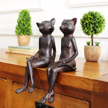 2pcs/lot rural retro old style rusty cat figure ornaments creative vintage home decorations resin animal figurine statues(China)