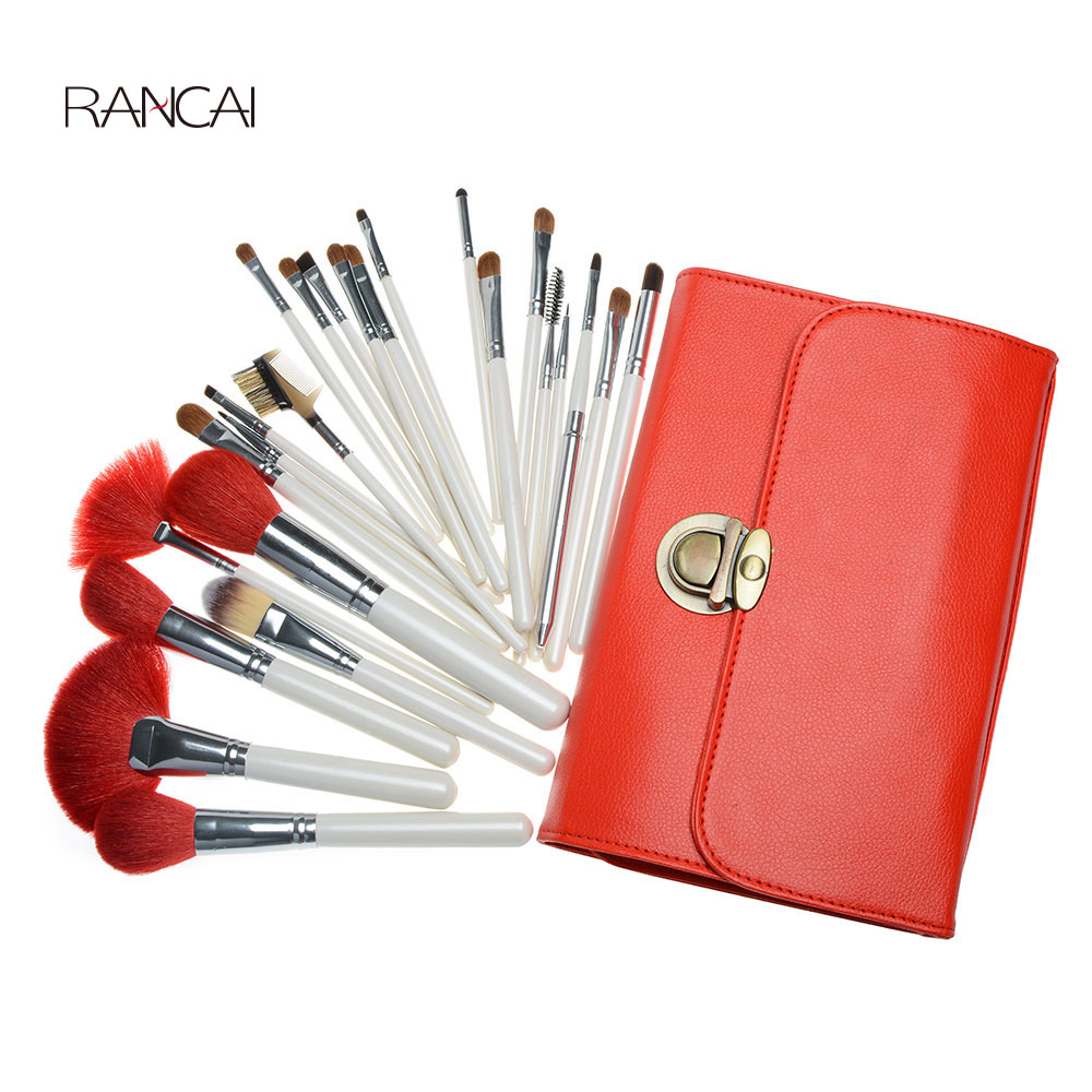 Professional 24pcs Makeup Brushes Set pincel maquiagem Powder Contour Brush Cosmetic Beauty Tools Goat Hair with Leather Case<br>