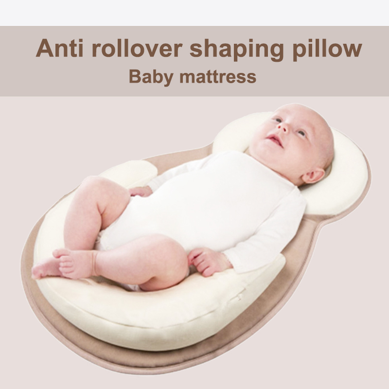 Portable Baby Bed Mattress Head Support Portable Baby Pillow for Newborn Baby and Infant Flat Head Syndrome Prevention Anti-Roll Adjustable Size Crib Mattress Age 0-2 Months Grey Gray
