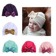 Autumn Winter Baby Hat Cotton Cap For Kids Boy Girls Princess Sequins Big Bow Children's Hats Caps Baby Beanie Hats(China)
