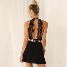 Buy 2018 Women Halter neck Sleeveless Lace Floral dresses backless Mini Bodycon mini Dress sexy clubwear party Night Club robe femme