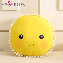 Lovely Cartoon Sun Smile Face Cushion Baby Sleeping Pillow Soft Stuffed Dolls Toys For Children Bed Room Decoration DIY dolls