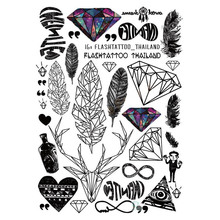 Temporary Tattoo Sticker women waterproof decal crystal Body Art variety of styles Gradient colorful birds Temporary Tattoo