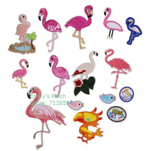 Free Shipping 10 pcs Flamingo birds Embroidered patch iron on Motif Applique Clothing hat bag shoe decor embroidery accessories