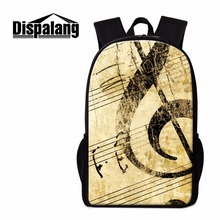 Dispalang Art Backpack Pattern for Children Girly Rucksacks Cute Schoolbag Musical Bookbag for Girls Mochilas Traveling Bag Kids
