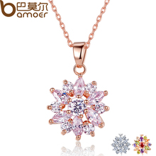 BAMOER Hot Sell Gold Color Flower Necklaces Pendants with High Quality Cubic Zircon For Women Birthday Gift JIN024(China)