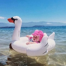 White Swan Inflatable Children's Swim Ring Baby Swimming Laps Pink Inflatable Flamingo Float Seat Boat Baby Swimming Pool Toys