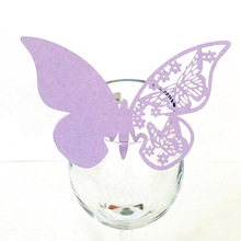 50pcs Wedding Supplies Butterfly Name Place Card Holder Party Table Wine Glass Escort Cup Card Event Banquet Paper Decoration(China)