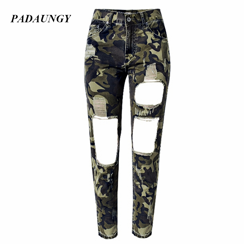 PADAUNGY Camouflage Women Pants Hole Denim Trousers Jeans Femme Plus Size Straight High Waist Torn Jeggings Boyfriend Style JeanОдежда и ак�е��уары<br><br><br>Aliexpress
