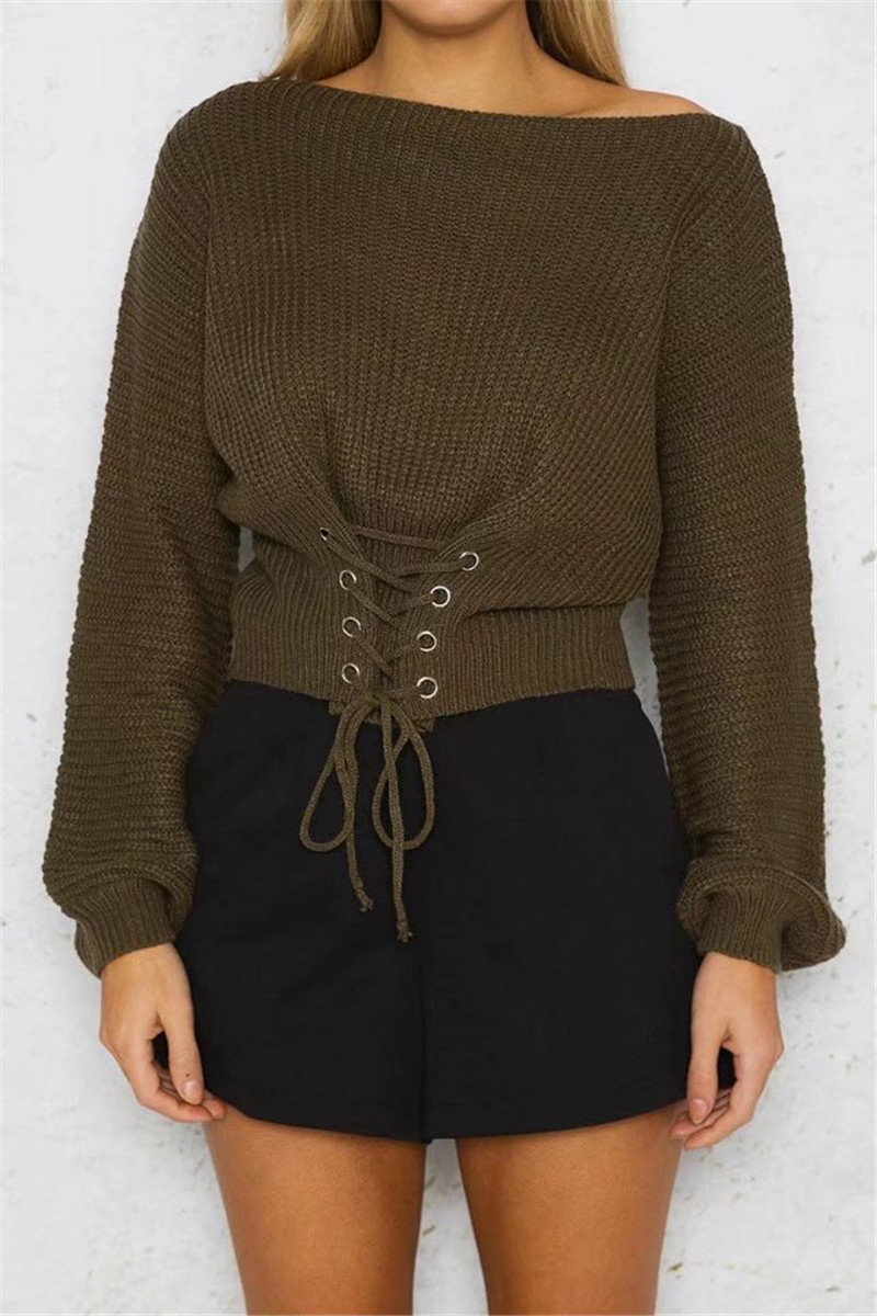 Autumn Lace Up Sweater, Women's Knitted Solid Jumper, Adjust Waist Bandage Sweater 12