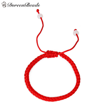 "DoreenBeads Polyester Kabbalah Red String Braided Friendship Bracelets 27.5cm(10 7/8"") long, 2 PCs"
