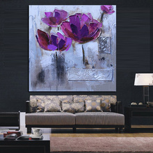 Print Modern Abstract Knife Purple Poppies Oil Painting on Canvas Pop Art Poster Wall Picture For Living Room Sofa Cuadros Decor(China)