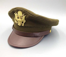 WWII US Army Air Force Jumbo Eagle Badge Officer Visor Cap military hat SIZES(China)