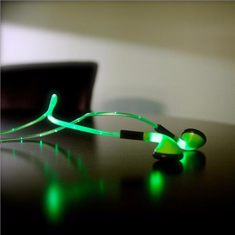 LED Flashing Light Pulse Glow Sport Earpiece 3.5mm Glowing Cable Headset Earbud with Mic Luminous Earphone for Smartphones #3
