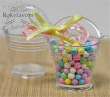 FREE SHIPPING 12PCS Transparant Clear Mini Bucket Candy Holder Favors Baby Shower Wedding Party  Ideas Birthday Party Gifts