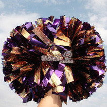 "10pcs Cheerleading pom Metallic  purple and spotted laser gold Color mixing 1,000*3/4"" wide streamers  handle"