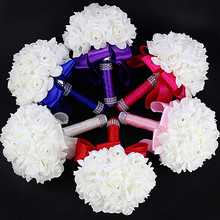 1 Bouquet Wedding Bride Bridesmaid Rhinestone Decor Foam Artificial Flower Store 48