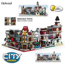 6Set/lot Mini City Series Viewr Ceator Hall/Cinema/Pet Shop/Bank Grand Department Store Building Block Brick Kids toys New