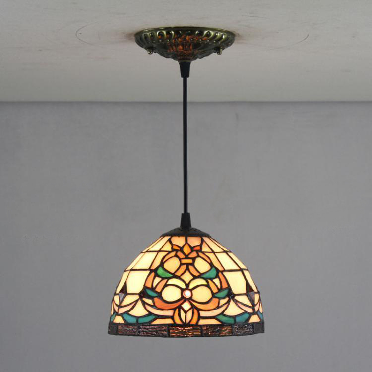 8 Inch Tiffany Pendant Lamp European Villa Duplex Stairs Lamps Bar Cafe American Country Tiffany Color Glass Pendant Lights<br><br>Aliexpress