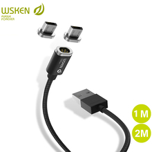 WSKEN Mini 2 LED Magnetic USB Cable Fast Charging Magnetic Charger Micro USB Cable Samsung S6 S7 Edge Micro USB Phone 1M 2M