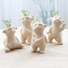 4pcs/lot Creative Gifts Ceramic Crafts Ceramic Pots Crafts Decoration Gardening Potting Office Home Decoration