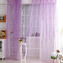 Green& Purple Modern willow Curtain Window design curtain yarn Balcony Room Finished Product curtain yarn sheer curtain tulle Y3