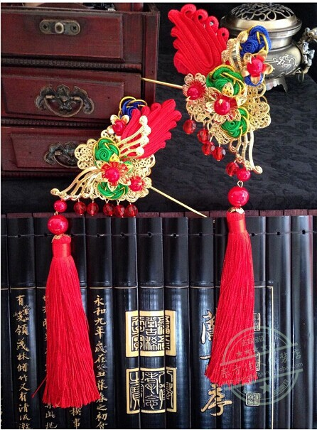 Chinese Bride Wedding Hair Jewelry Red Golden Cheongsam Accessory Hair Jewelry (pair of hair sticks)<br>