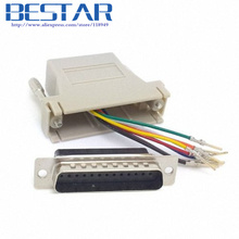 Serial Interface D-Sub 25pin Male Extender To Lan Cat5 Cat5e RJ45 Ethernet Female Adapter Beige Color