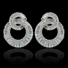 New double circle design luxury brand AAA Cubic Zirconia earrings for women,high quality CZ earrings for wedding/party(China)
