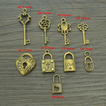 9 pcs Mix sale antique bronze Charms metal key & heart lock Pendants for Jewelry Making DIY Handmade Craft 42116B(China)
