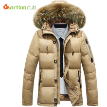 ACTIONCLUB New Arrival Winter Fashion Mens Down Coat Size M L XL XXL XXXL Men's 90% White Duck Down  With Fur Hood Parkas
