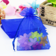 New Fashion 100pcs/lot 11x16cm Royal Blue Organza Bag Cute Wedding Jewelry Packaging Bag Drawable Organza Gift Bags Pouches(China)