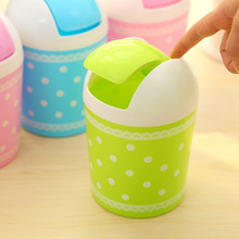 WHISM Small Desktop Car Garbage Can Trash Bin Dust Case Standing Rolling Cover Type(China)