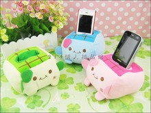 Super cute 4pcs 11cm cartoon little smile tofu mobile plush phone holder seat home decoration creative stuffed toy children gift(China)