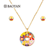 Baoyan Romantic New 316L Stainless Steel Hot Pink Flower Paint Enamel Bohemian Style Chic Pendant Necklaces Jewelry for Her Sale(China)