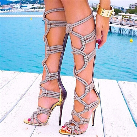Sexy Braided Rope Leather Patch Gladiator Sandals Women Boots Caged Cut Outs Knee High Boots High Heels Shoes Woman Botas Mujer (11)