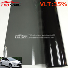 Cheapest VLT 35% 50x300CM/Lot Black Car Window Tint Film Glass 1 PLY Car Auto House Commercial Solar Side window Tint film(China)