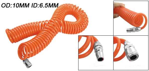 Free Shipping PU Spring Spiral Pneumatic 15M Length 10mm OD 6.5mm ID Tube Hose Air Brake PU Coil Hose Tube<br>