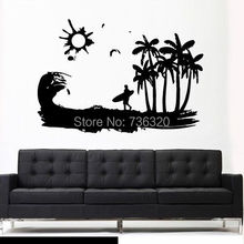 Boy Wall Sticker Wave Ocean Wind Sun Surf Board Wave Palm Art Vinyl Decal Bedroom Living Room Removeable Sticker Home Decoration
